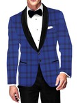 Mens Slim fit Casual Royal Blue Checks Blazer sport jacket coat Partywear