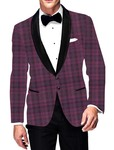 Mens Slim fit Casual Magenta Checks Blazer sport jacket coat Groomsman