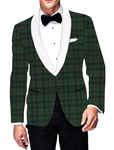 Mens Slim fit Casual Green Checks Blazer sport jacket coat Summer Style