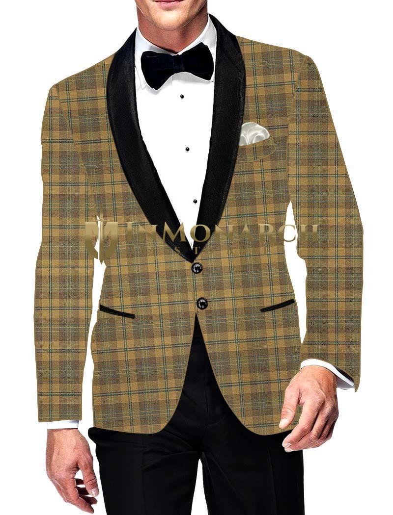 Mens Slim fit Casual Tan Checks Blazer sport jacket coat for Wedding
