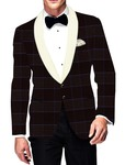 Mens Slim fit Casual Wine Checks Blazer sport jacket coat Stylish Two Button