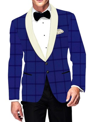 Mens Slim fit Casual Royal Blue Checks Blazer sport jacket coat Ethnic Wedding