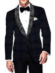 Mens Slim fit Casual Dark Navy Blazer sport jacket coat Checks Designer