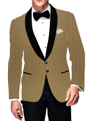Mens Slim fit Casual Yellow Small Checks Blazer sport jacket coat Formal