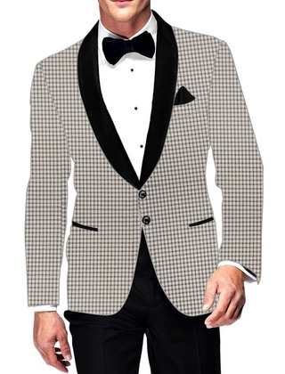 Mens Slim fit Casual Off White Blazer sport jacket coat Small Checks