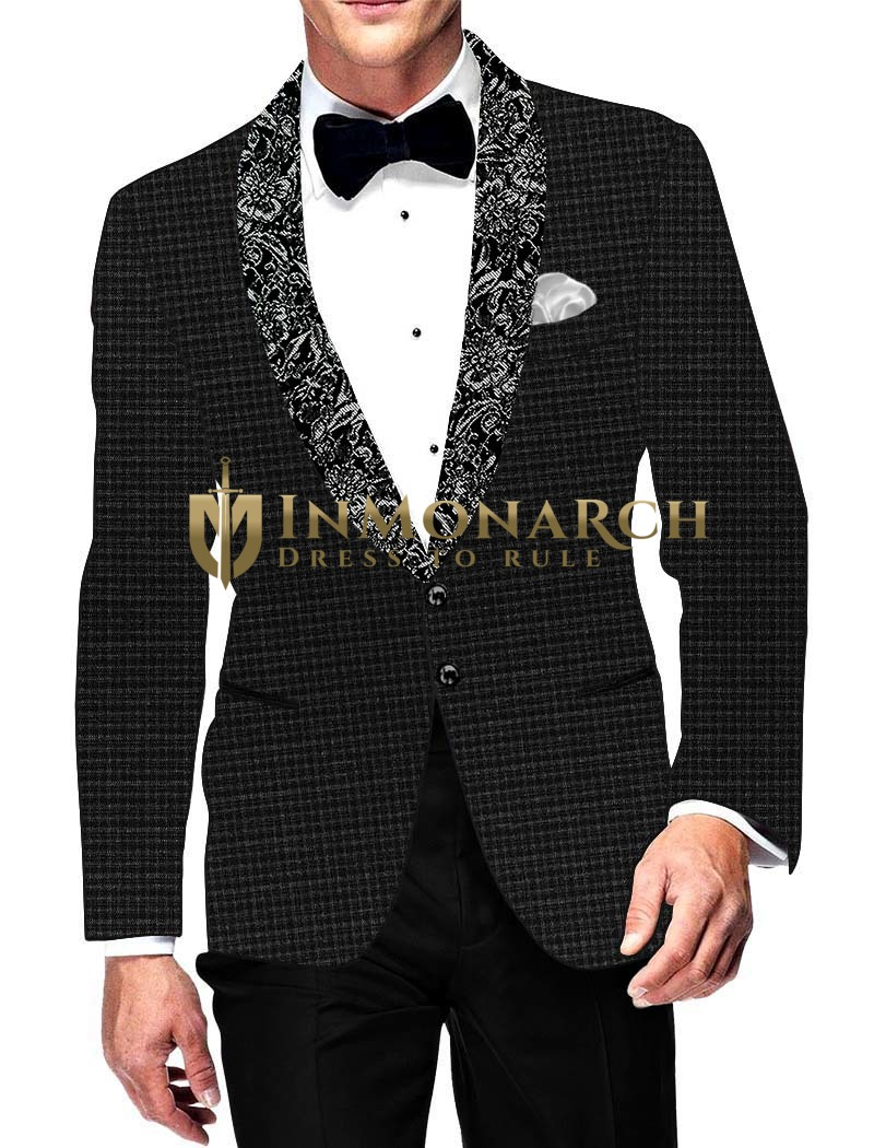 Mens Slim fit Casual Black Blazer sport jacket coat Shawl lapel Checks