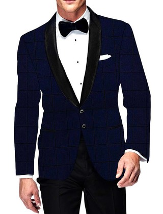 Mens Slim fit Casual Navy Blue Blazer sport jacket coat Checks Two Button
