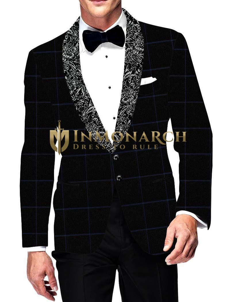 Mens Slim fit Casual Black Sports Jacket Shawl Lapel