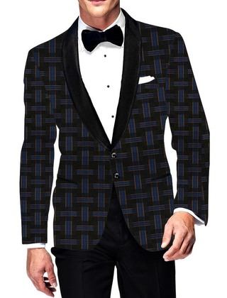 Mens Slim fit Casual Gray and Blue Checks Blazer sport jacket coat