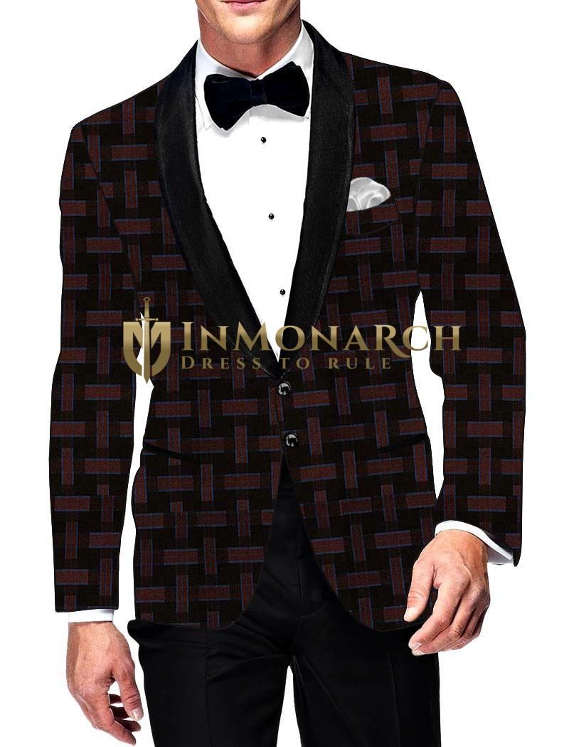 Mens Slim fit Casual Brown and Burgundy Checks Blazer sport jacket coat