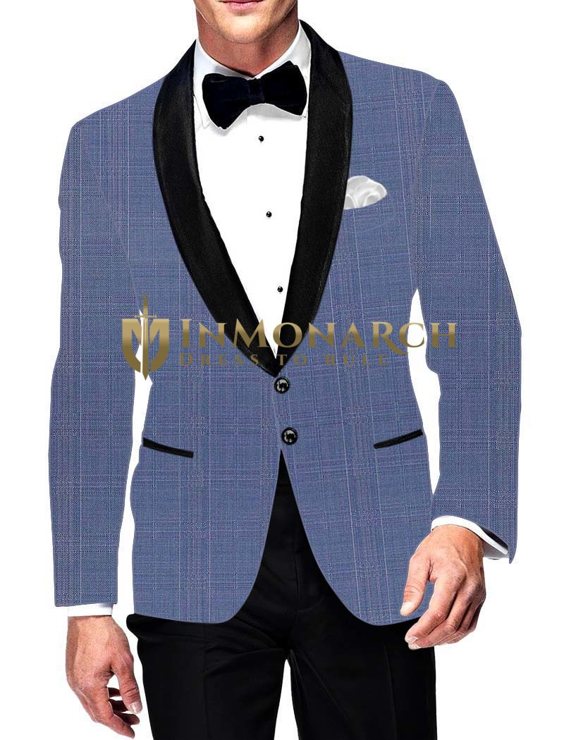 Mens Slim fit Casual Sky Blue Blazer sport jacket coat Two Button Partywear