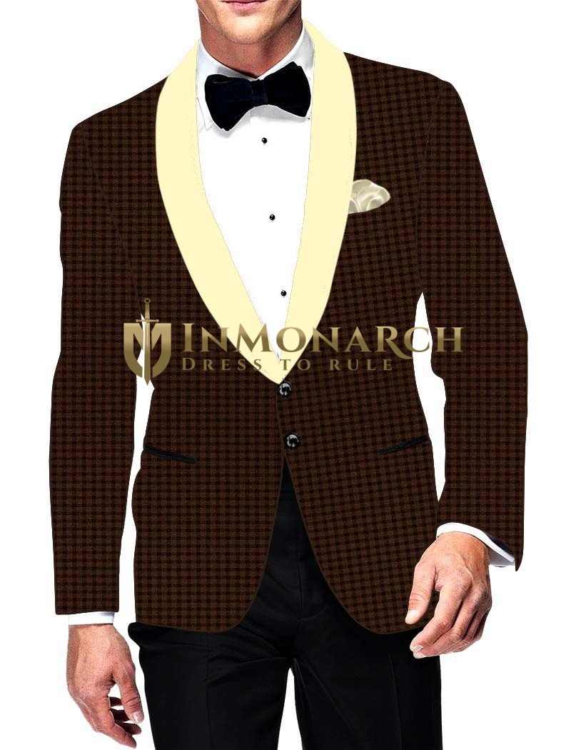 Mens Slim fit Casual Brown Checks Blazer sport jacket coat Shawl Lapel