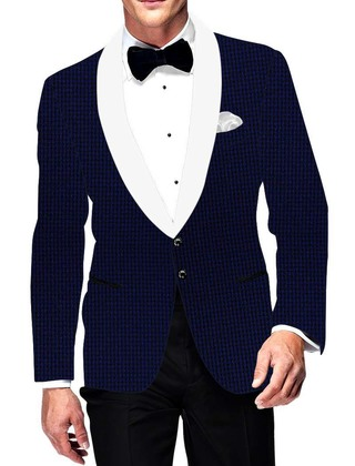 Mens Slim fit Casual Royal Blue Checks Blazer sport jacket coat Formal