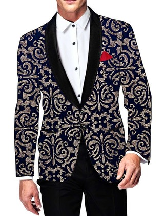 Mens Slim fit Casual Navy Blue Velvet Blazer sport jacket coat Two Button