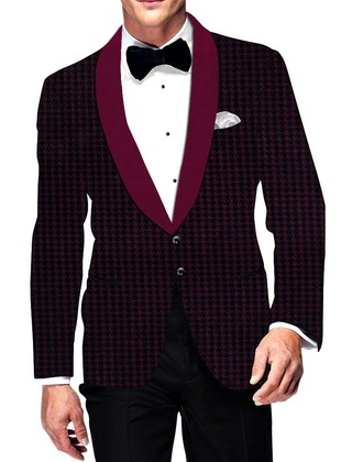 Mens Slim fit Casual Magent and Black Blazer sport jacket coat Checks