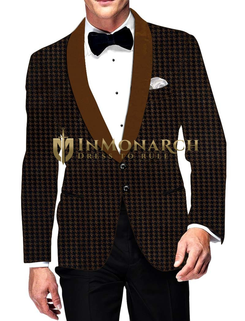 Mens Slim fit Casual Bronze Checks Velvet Blazer sport jacket coat Ethnic