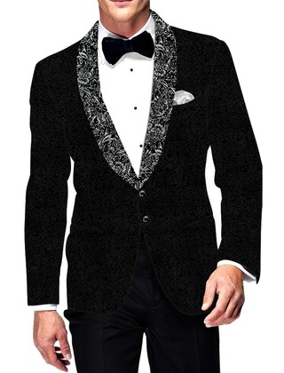 Mens Slim fit Casual Black Blazer sport jacket coat Self Design Velvet