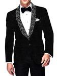 Mens Slim fit Casual Black Blazer sport jacket coat Self Design Velvet