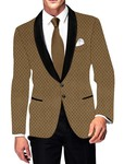 Mens Slim fit Casual Golden Checks Velvet Blazer sport jacket coat Bridegroom