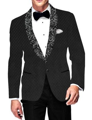 Mens Slim fit Casual Dark Gray Velvet Blazer sport jacket coat Checks Design