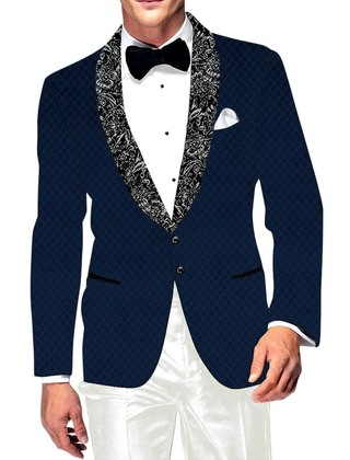 Mens Slim fit Casual Dark Navy Velvet Blazer sport jacket coat Checks Design