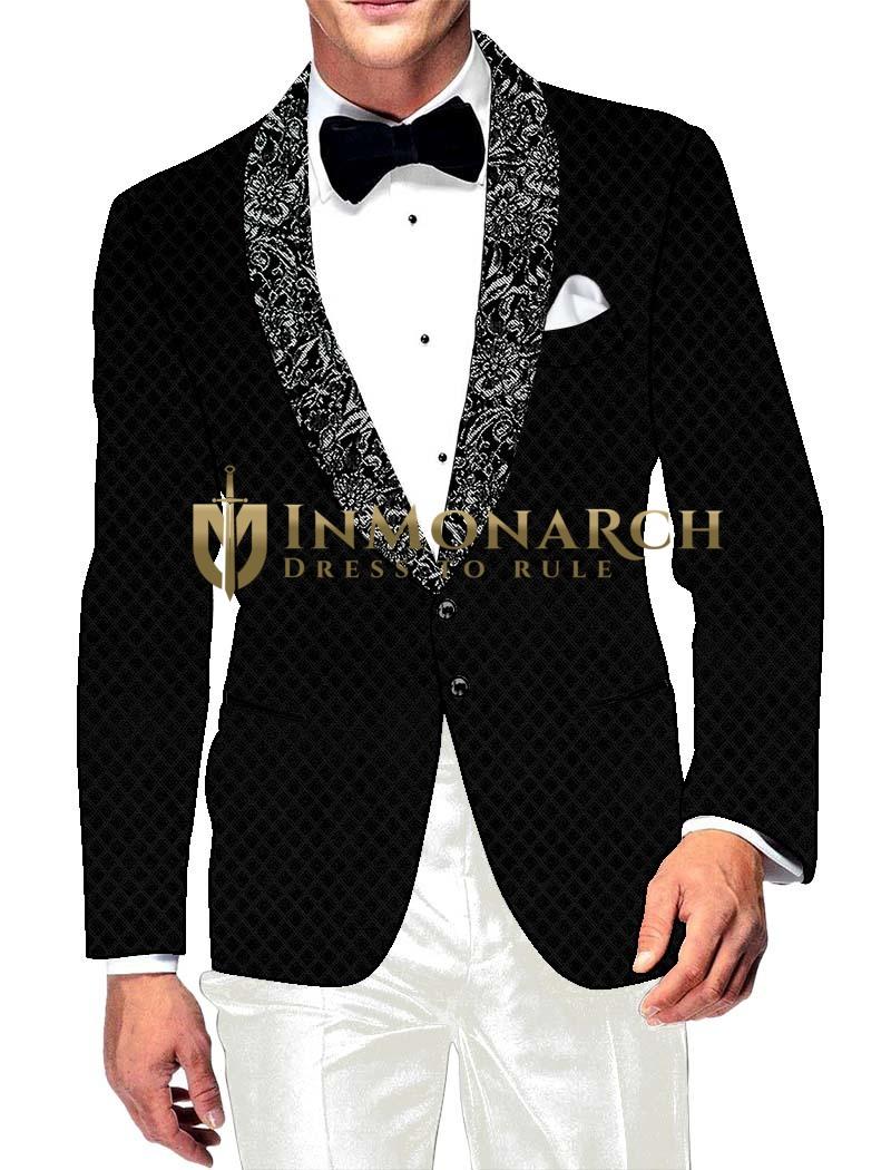 Mens Slim fit Casual Black Velvet Jacket Checks Style