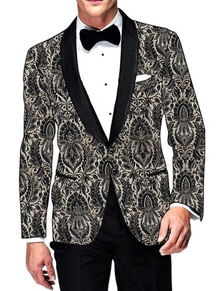 Mens Slim fit Casual Black and Cream Kimkhab Blazer sport jacket coat Two Button