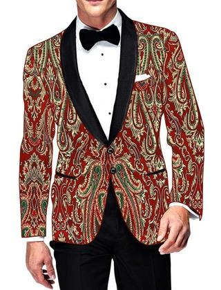 Mens Slim fit Casual Red Kimkhab Jacket Shawl Lapel