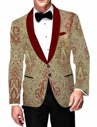 Mens Light Green Blazer Stylish Red Design