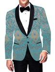 Mens Slim fit Casual Cyan Kimkhab Blazer sport jacket coat Bollywood Style