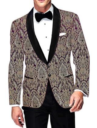 Mens Slim fit Casual Purple Kimkhab Jacket Ethnic