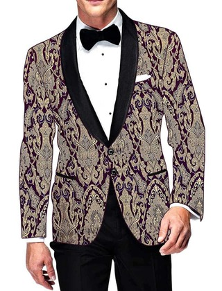Mens Slim fit Casual Purple Blazer sport jacket coat Golden Flower Design