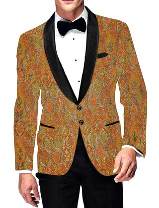 Mens Slim fit Casual Orange Blazer sport jacket coat Kimkhab Two Button