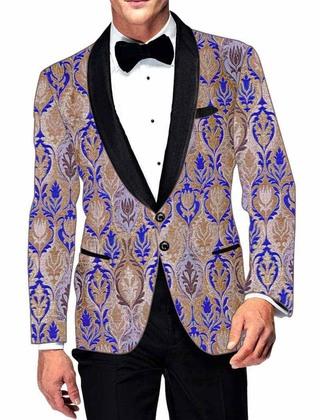 Mens Beige and Blue Blazer Partywear