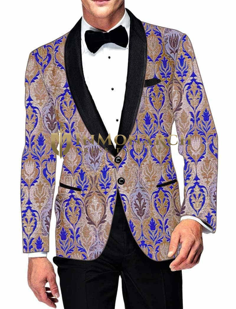 Mens Slim fit Casual Beige and Blue Blazer sport jacket coat Partywear