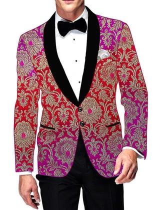 Mens Magent and Red Kimkhab Blazer Wedding