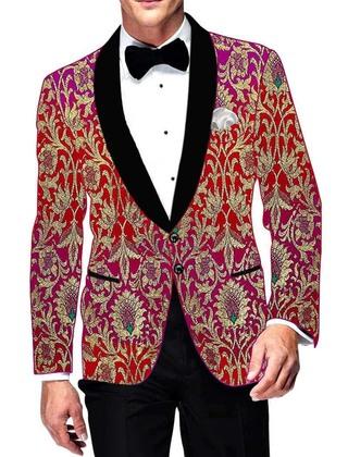 Mens Magent and Red Kimkhab Blazer Designer