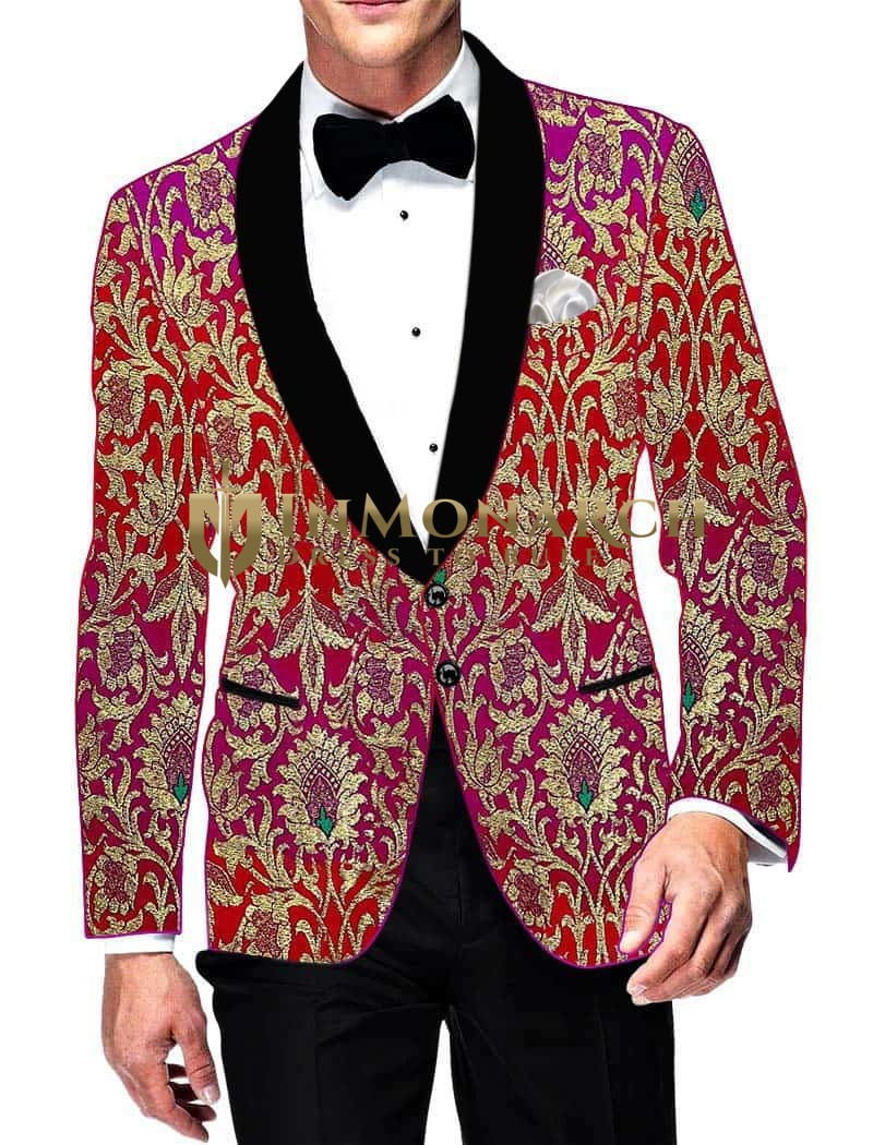 Mens Slim fit Casual Magent and Red Kimkhab Blazer sport jacket coat Designer