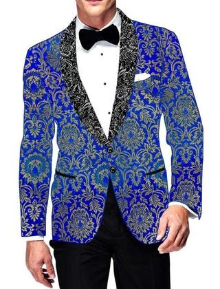 Mens Blue Kimkhab Blazer Shawl Lapel Prom