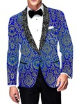 Mens Slim fit Casual Blue Kimkhab Blazer sport jacket coat Shawl Lapel Prom