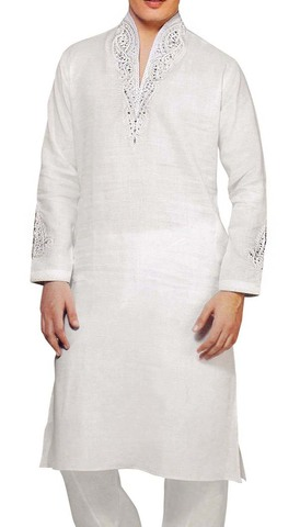 Kurta Pajama for Men White Linen Kurta Pyjama Embroidered Kurta Pajama