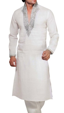Indian Clothes for Men White Indian Kurta Linen Kurta Pyjama V Design Neck