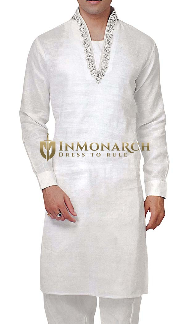 Mens White Linen Kurta Pyjama for Partywear Indian Kurta Kurta Pajama