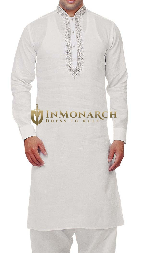 Mens Indian Kurta White Linen Kurta Pyjama Nehru Collar Indian Kurta