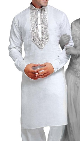 Sherwani for Men White Linen Kurta Pyjama Stylish Embroidered Indian Kurta