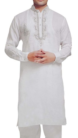 GroomsMen Kurta Pajama for Men White Linen Kurta Pyjama Indian Clothes