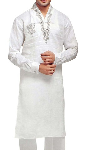Indian Clothes for Men White Linen Kurta Pyjama Embroidered V Neck