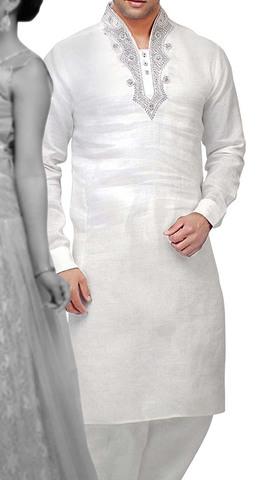Mens Indian Kurta White Linen Kurta Pyjama High Neck Style Indian Clothes
