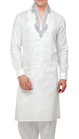 Mens White Kurta Pyjama Stand Collar Embroidered