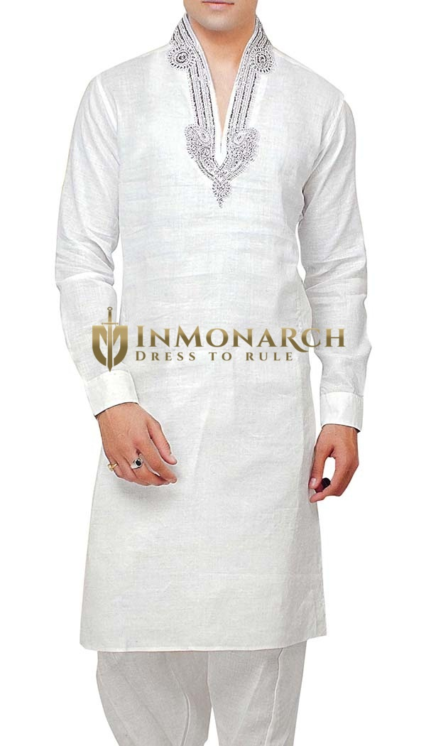 Stand Collar Kurta Designs : Mens white kurta pyjama stand collar embroidered inmonarch